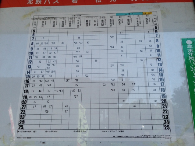 jadwal bus aeon kanazawa