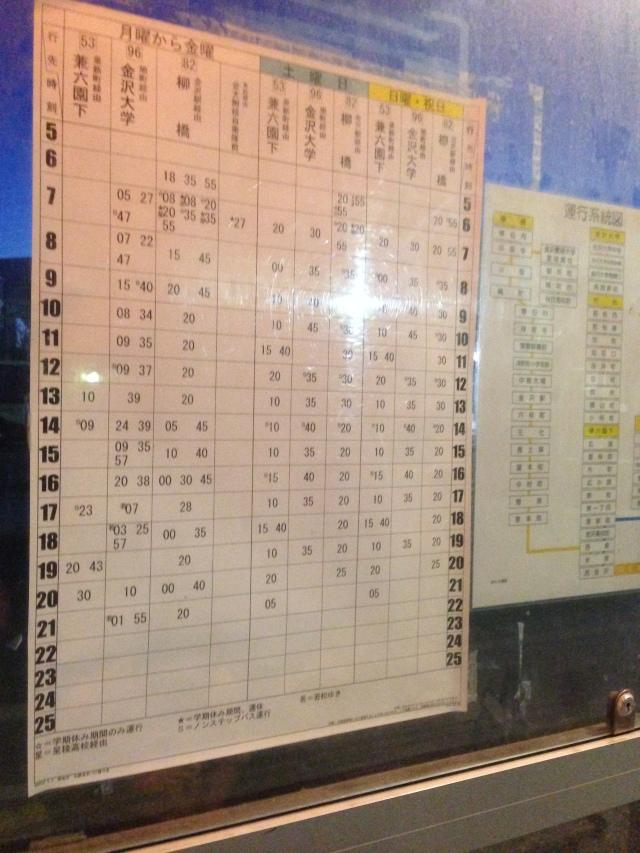 jadwal bus nishi kanazawa